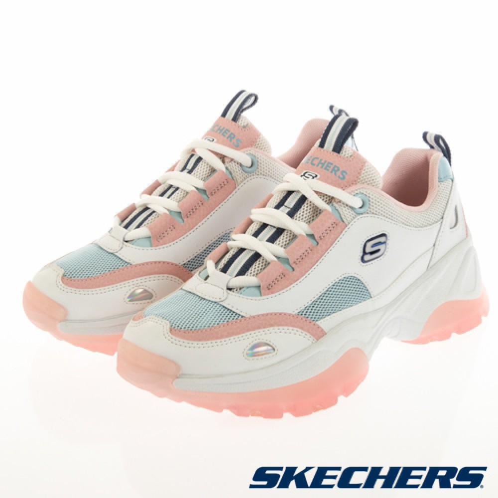 [鸚鵡鞋鋪]SKECHERS D'LITES KOZMIKS透明果凍底老爹鞋 內增高(女)粉白