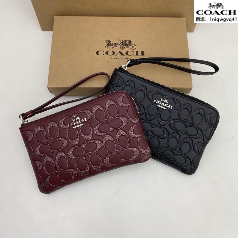正品實拍coach F80214女生手腕零錢包包 錢包 經典浮雕零錢包 女士手拿包 零錢袋 皮夾 附購證