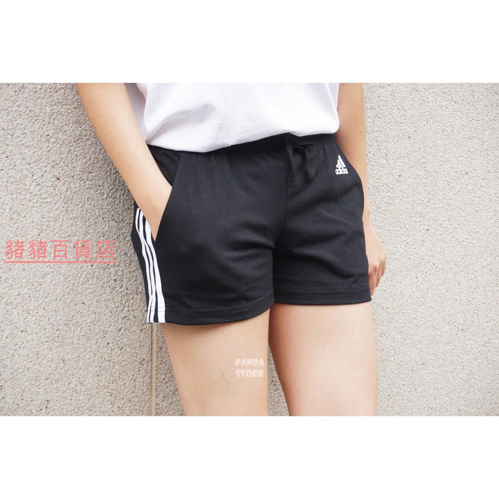 (猪猪百货店)ADIDAS Sport Logo 愛迪達 三線 三條線 棉 運動 短褲 小熱褲 BR5963 黑 女