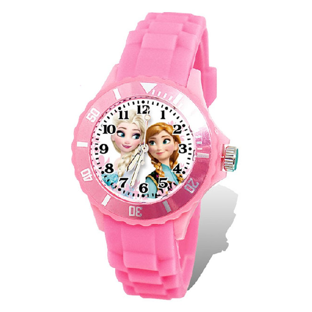【Diseny迪士尼】艾莎與安娜_運動彩帶手錶(粉紅色/中型)