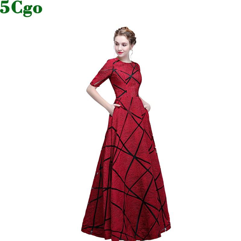 5Cgo含稅促銷宴會晚禮服壹字肩晚裝高貴優雅長款顯瘦女蕾絲線條紅色大裙擺長裙 t559662157222
