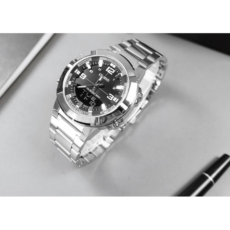 CASIO 粗曠雙顯世界時間計時碼錶不鏽鋼錶腕  AMW-870D-1A