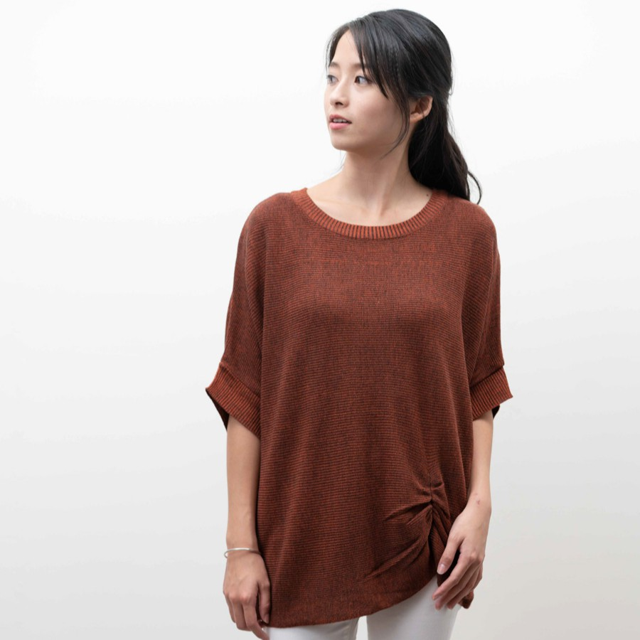 O-LIWAY 台灣製 MIT 皺褶設計前後兩穿針織衫 oliway