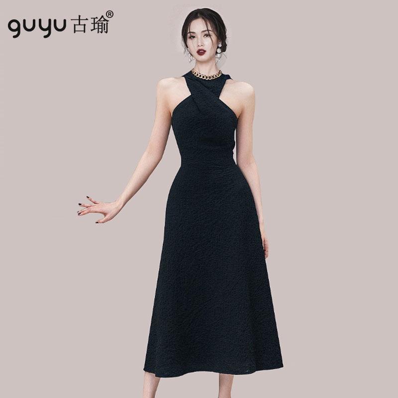 御姐挂脖削肩長禮服 S-XL氣質顯瘦無袖過膝收腰長洋裝黑色 A字連衣裙