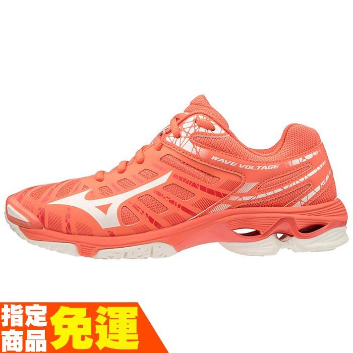 MIZUNO WAVE VOLTAGE 女款排球鞋 進階 V1GC196059 粉橘 贈運動襪 20FW
