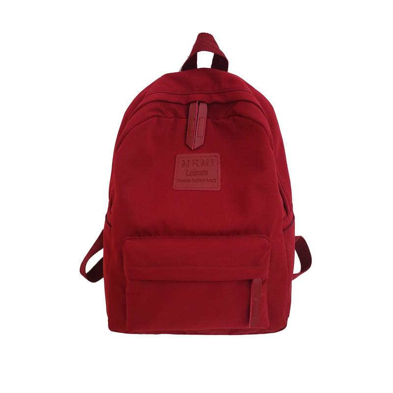 素色後背包 書包背包女後背包正韓原宿新品百搭高中學生素色校園帆布包