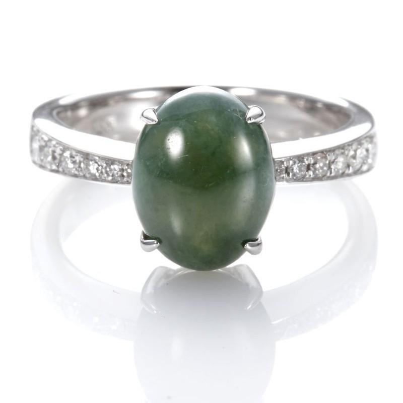 Dolly 緬甸 滿綠冰種翡翠 14K金鑽石戒指