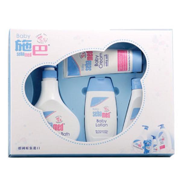 施巴 Sebamed 嬰兒粉藍熊語禮盒/彌月禮盒(附提袋)【麗兒采家】