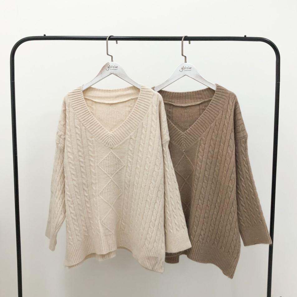現貨5364-V領菱格麻花針織毛衣-2色