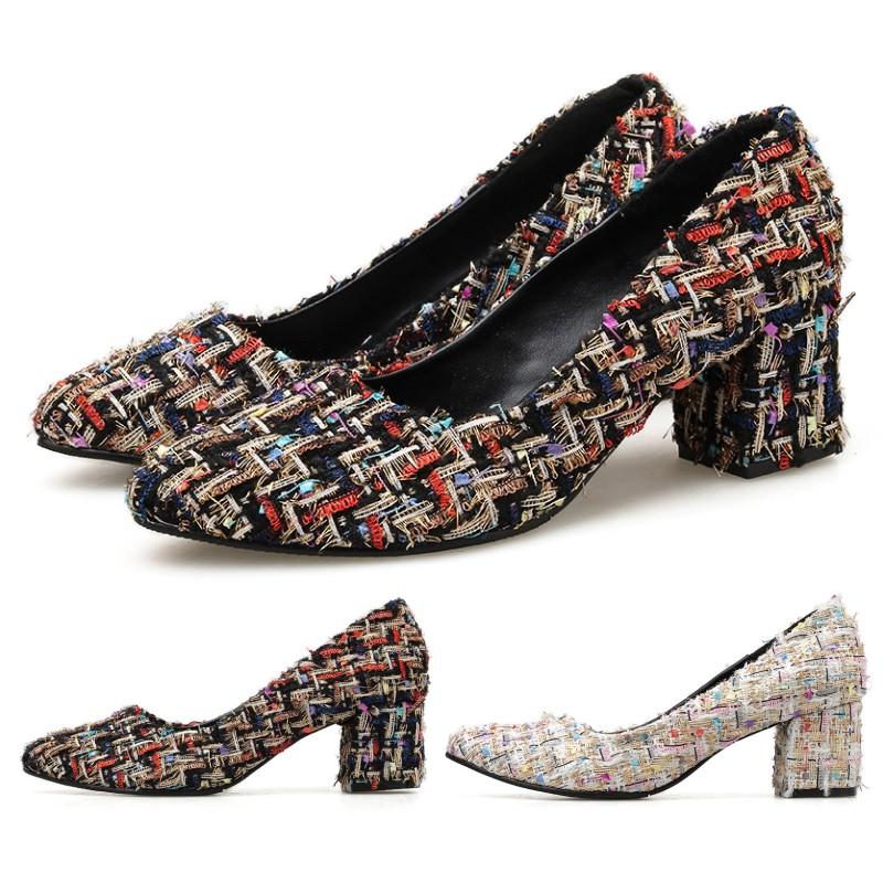 【白鳥麗子】高跟鞋 訂製款 MIT優雅小香風毛呢拚色粗跟包鞋