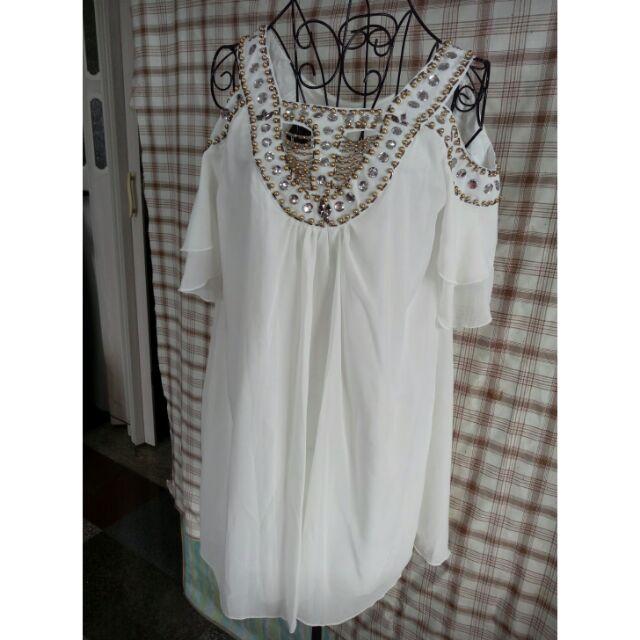 白色雪紡華麗寶石挖肩短袖洋裝