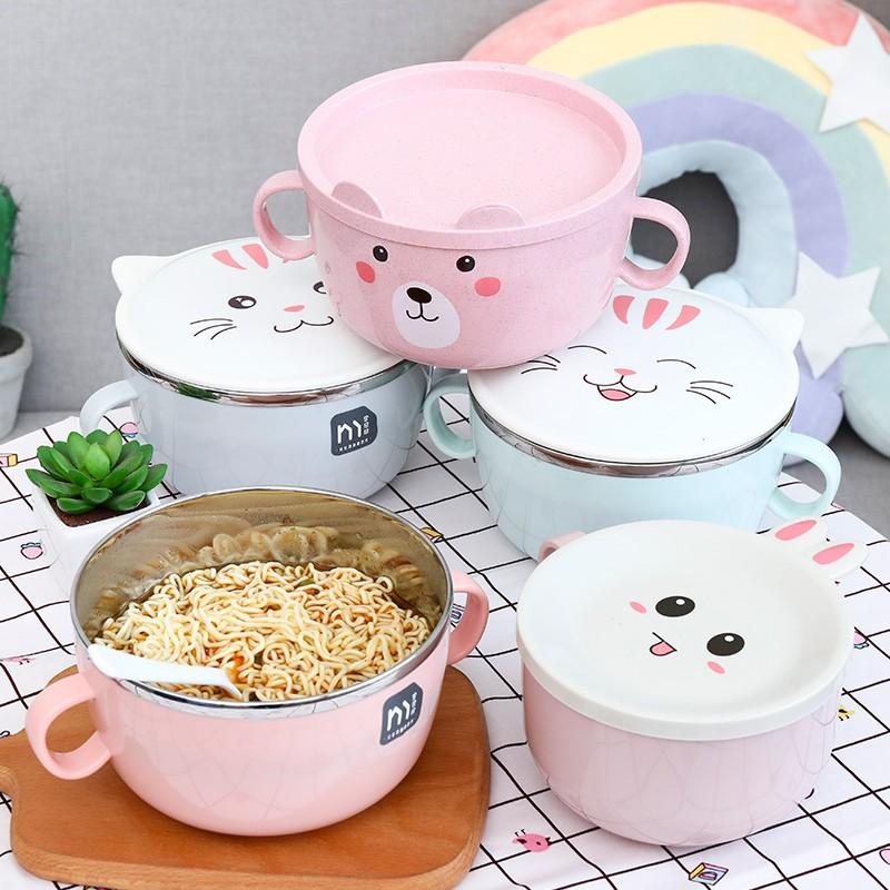 【現貨】泡麵碗 不銹鋼泡面碗 304不銹鋼 兒童不銹鋼碗 湯碗  雙層隔熱 卡通碗  麵碗 湯碗 防燙泡麵碗