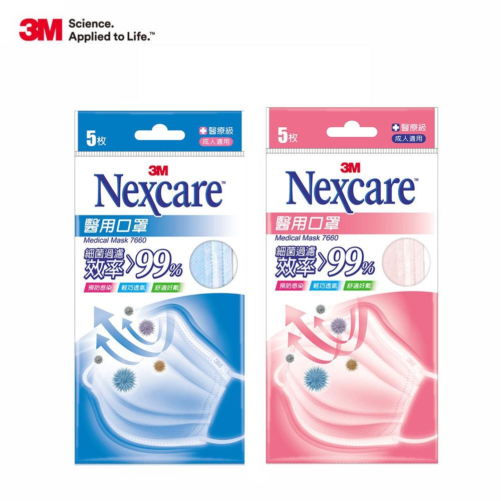 3M Nexcare 成人醫用口罩-粉藍/粉紅(雙鋼印款)每包5片
