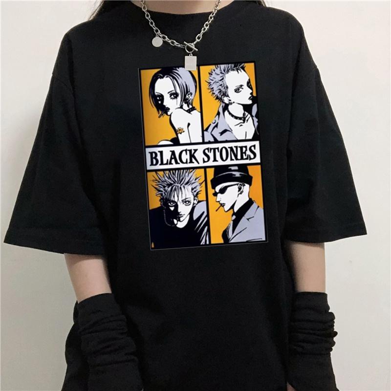 NANA 日本動漫漫畫大崎朋克樂隊酷黑石頭T恤原宿高品質T恤寬鬆圓領短袖