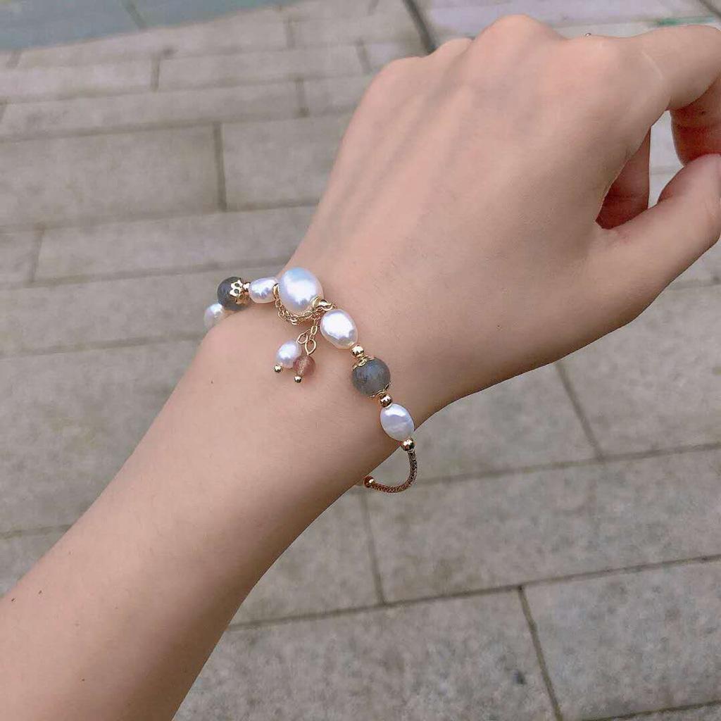 ☘奶油桃子☘天然淡水珍珠月光石手鍊韓系手工百搭氣質簡約手飾女