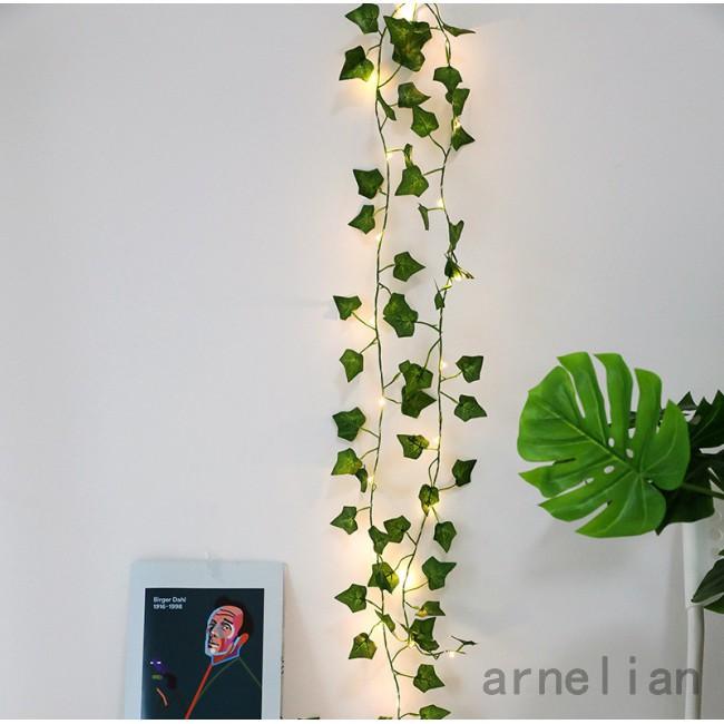 熱 Led 人造植物串燈綠色楓葉燈花環 Diy 電池供電的懸掛照明