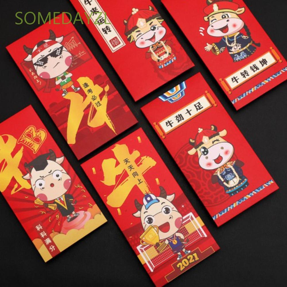 SOMEDAYZL 錢包公牛節日用品壓歲錢卡通中國新年牛年用品現金袋/多種顏色