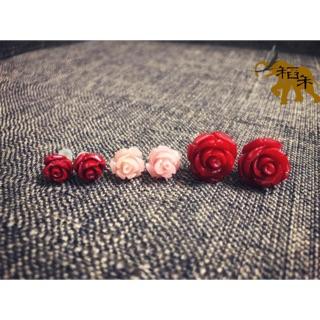 🎀赤紅開運🎀 玫瑰盛艷【仿紅珊瑚玫瑰花】耳環/ 耳釘/ 耳飾 新北市
