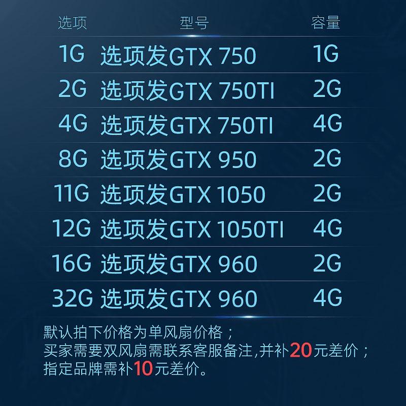 【24H發貨,限時下殺】七彩虹影馳華碩GTX960 750TI 1050TI 4G拆機吃雞台式電腦二手顯卡