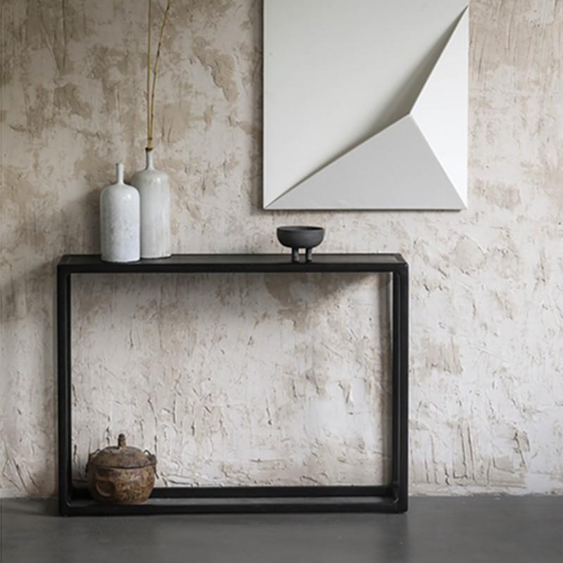 北歐輕奢黑色實木玄關桌入戶玄關案臺簡約靠墻邊幾長條供桌置物架