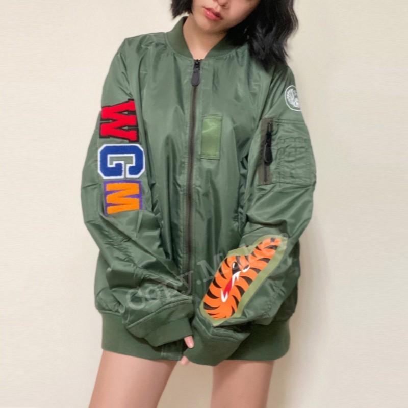 BAPE SHARK MA-1 MA1 WGM 背後鯊魚 刺繡 工裝 飛行夾克 薄款外套 夾克 ap▲