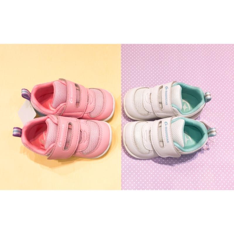 Moonstar 日本月星 Hi系列 3E寬楦穩定款 學步鞋 粉色 白色