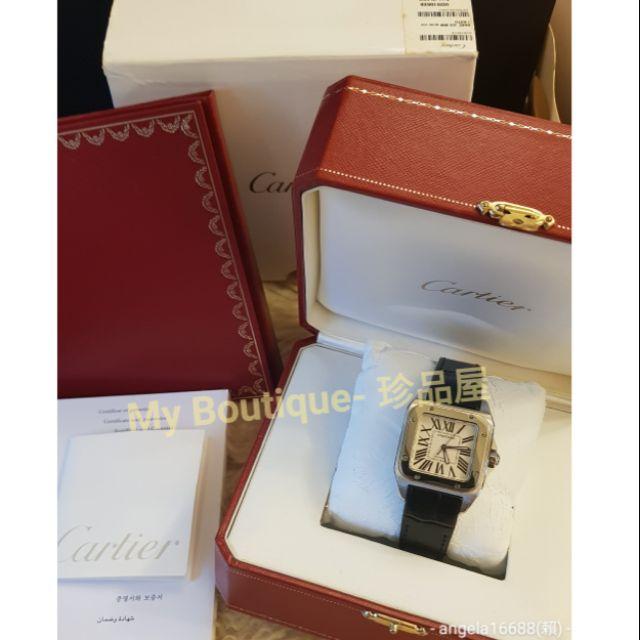 全配盒單齊全卡地亞Cartier Santos 100山度士機械錶~錶帶已換全新,經典款男女皆適合~型號W20106X8