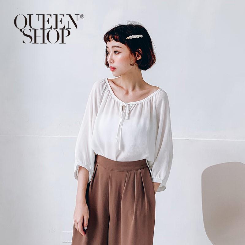 QUEENSHOP 好感素色綁帶造型雪紡上衣 現+預 【01051421】