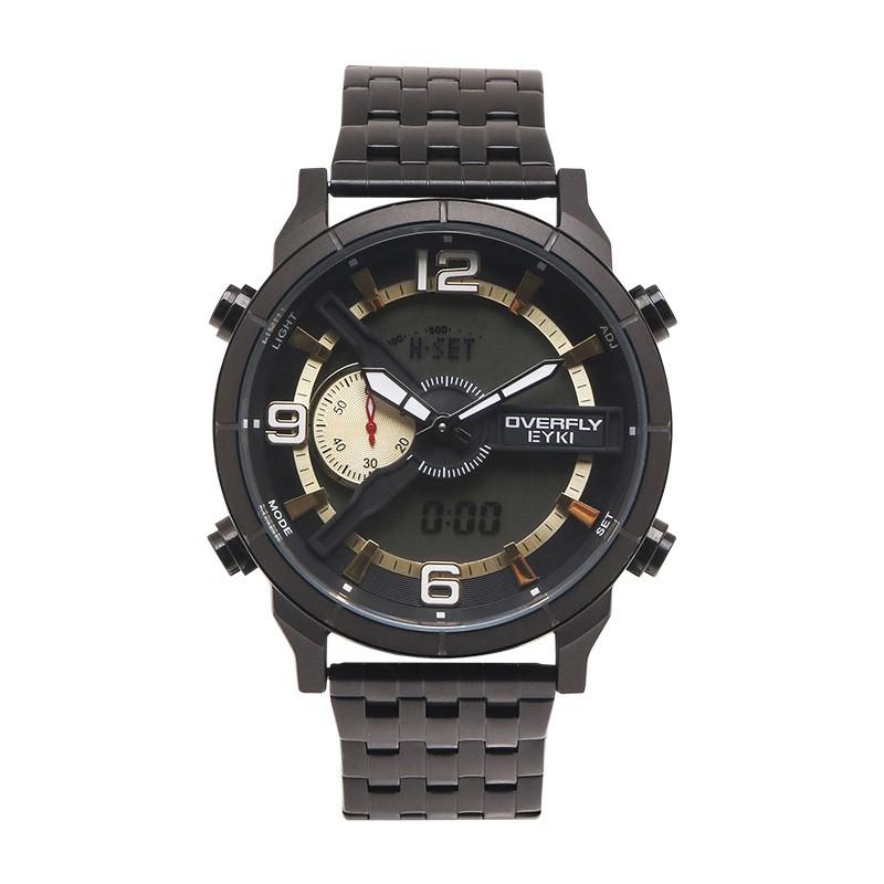 EYKI旭日初升大錶面單眼日期星期顯示電子金屬鍊帶手錶【WEY3133】璀璨之星