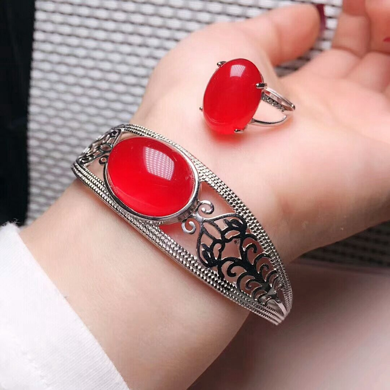 美麗新款天然瑪瑙玉髓鑲嵌925銀手鐲戒指活口紅玉髓兩件套首飾