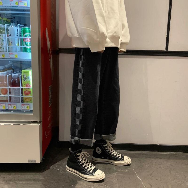 牛仔褲 休閒長褲 牛仔長褲 寬褲 嘻哈復古格子拼接牛仔褲冬季韓版ins寬松百搭直筒闊腿褲子男女潮