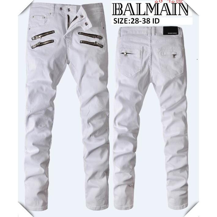 破洞破洞現貨牛仔褲 巴爾曼牛仔長褲 BALMAIN男士牛仔褲 男士膝蓋破洞牛仔褲 刀割牛仔長褲63