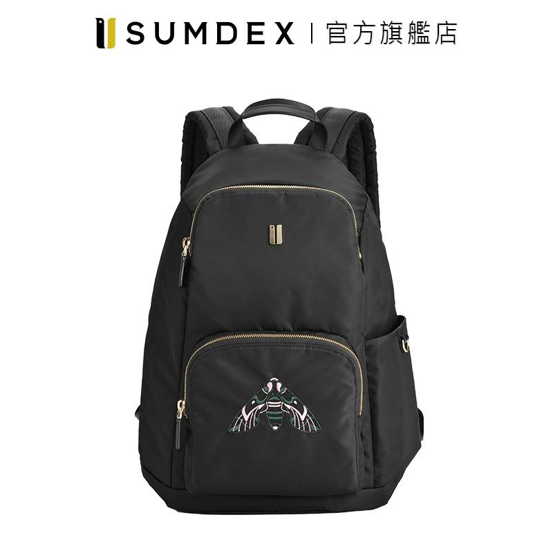 Sumdex 輕簡防盜後開後背包(飛蛾版) NOA-714BK-MT 黑色 官方旗艦店