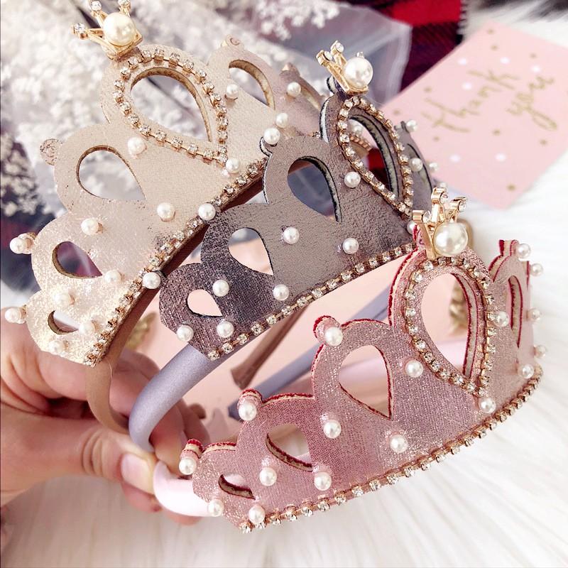 Yaya baby 髮飾配件 韓國進口兒童皇冠髮箍 公主優雅珍珠鑲鑽皇冠髮箍 生日 派對裝扮 (個)