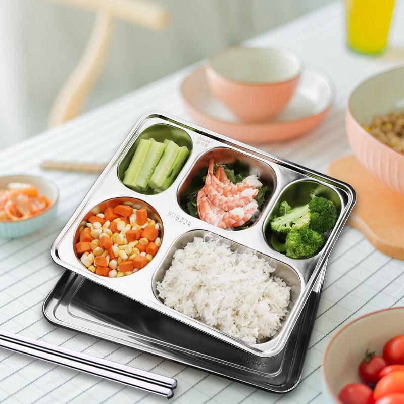 歐樂多【一體成型】餐盤分格304不銹鋼快餐盤成人學生飯盒兒童食堂飯盤##