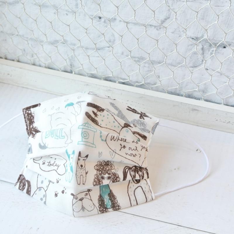 【TEMARIYA】日本製可水洗—兒童手工立體口罩8X13.5(手繪狗狗/白)
