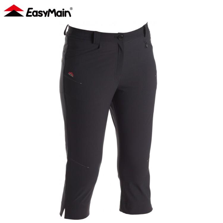 【EasyMain 衣力美 女 彈性潑水快乾七分褲《黑》】RE16042/七分褲/快乾褲/休閒七分褲