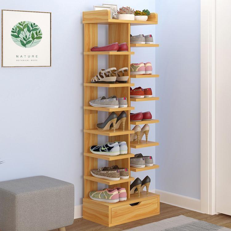 多層鞋架簡易家用經濟型省空間家里人仿實木色鞋柜門口小鞋架宿舍【光明居家】