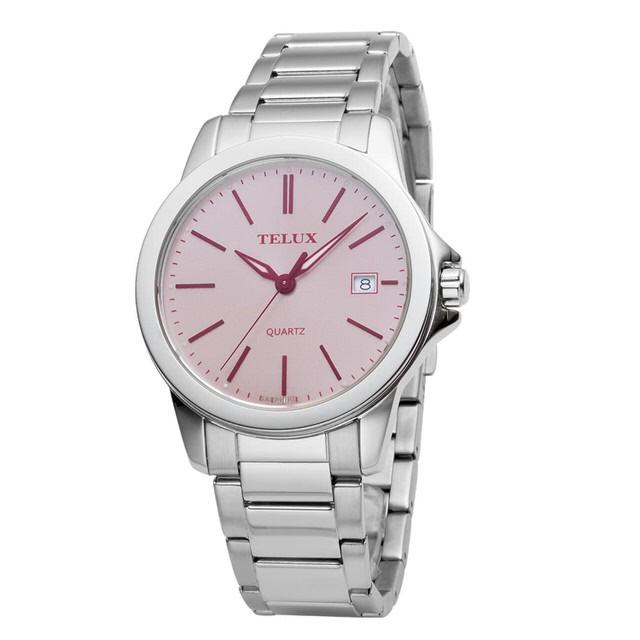 台灣品牌手錶腕錶【TELUX鐵力士】微光系列女腕錶手錶-40mm台灣製造石英錶7002W-PINK鋼帶粉紅面