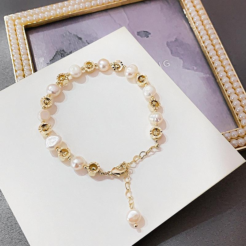 MUXI』手鍊 韓國 時尚簡約淡水珍珠可調節大小手鍊 輕奢手環手鐲手飾