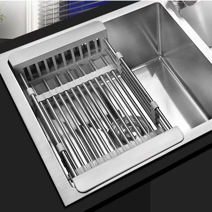 碗盤瀝水架 收納架 可伸縮廚房水槽瀝水籃304不銹鋼加厚菜盆瀝水架/瀝碗架置物架  餐具收納架 置物架