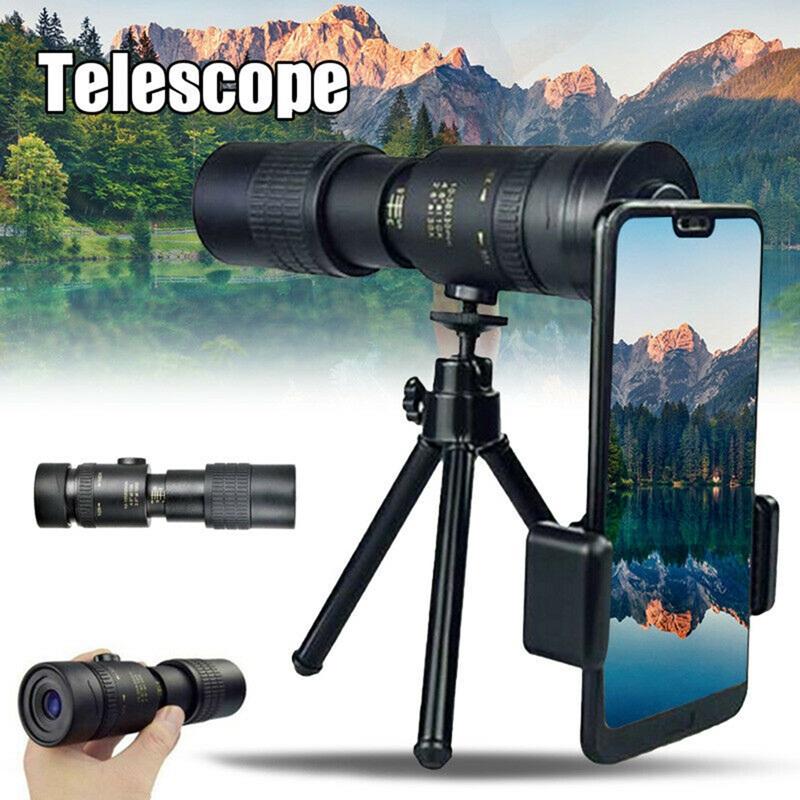 便攜式 10-300x40mm 放大倍率單筒望遠鏡防水高清變焦專業望遠鏡, 帶三腳架電話夾