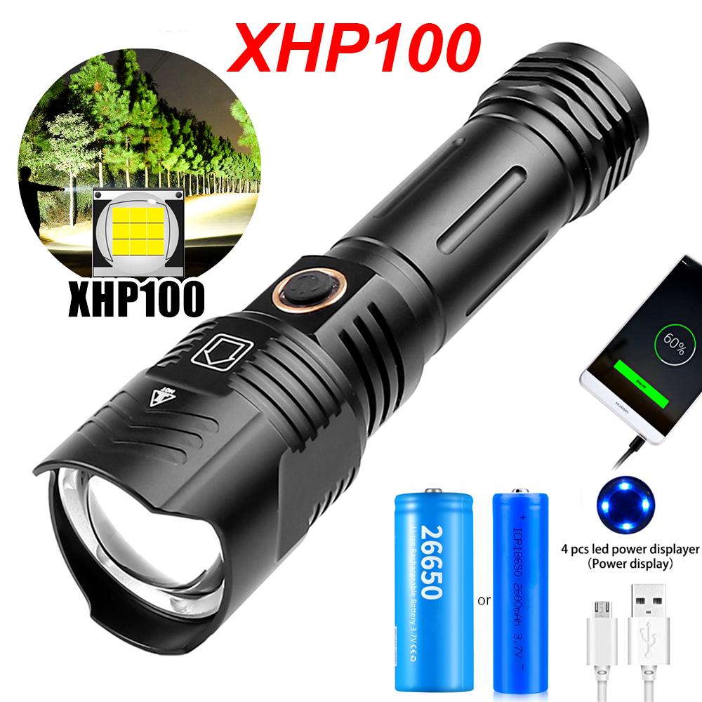 新! 100000流明戰術Xhp100強力手電筒,USB充電手電筒,帶18650 26650電池的LED手電筒