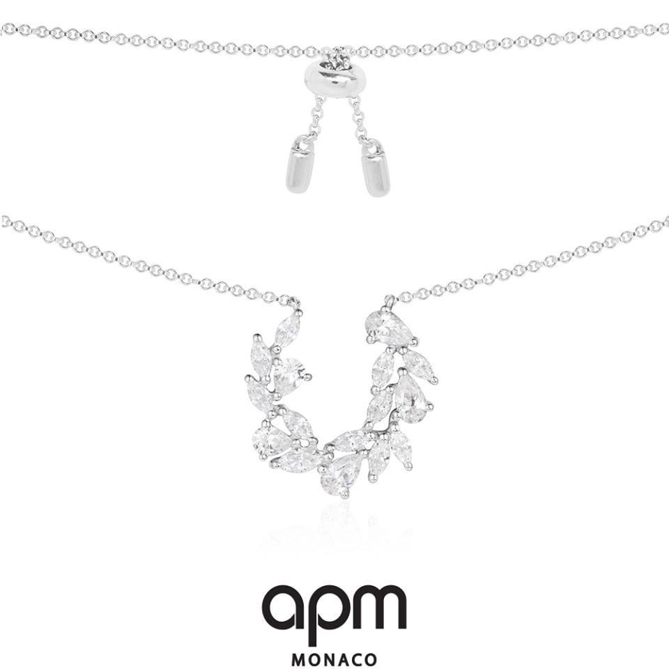 APM Monaco純銀鑲晶鑽造型鑲晶鑽項鍊(鍊長至65CM)