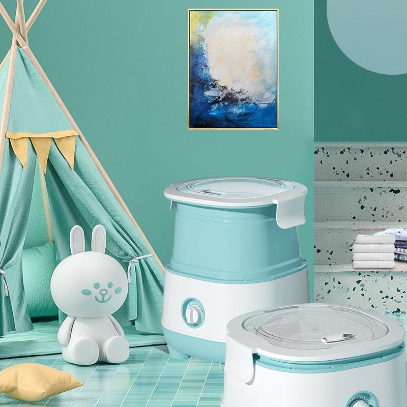 110V小型家用洗衣機110V臺灣美國日本小型內衣褲洗脫一體單桶烘乾半全自動折疊洗衣機