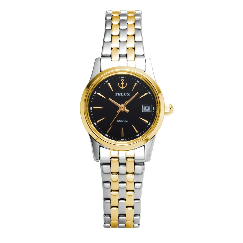 台灣品牌手錶腕錶【TELUX鐵力士】見證系列女腕錶手錶21MM台灣製造石英錶7775TG-BK12中金鋼帶黑面另有男款