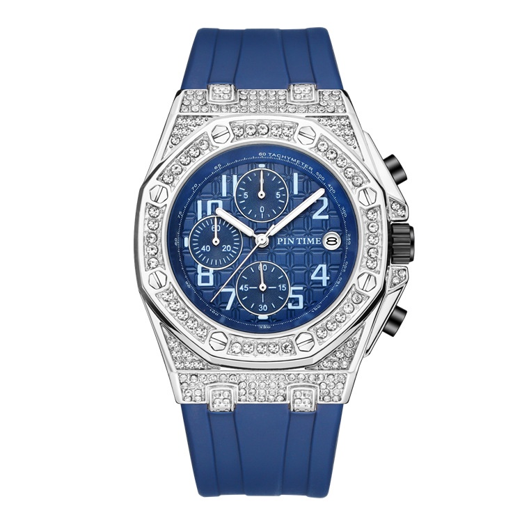 ❤️PINTIME/品時PT2721格子面 手錶 矽膠錶 帶八角設計帶日歷防水鑲鑽速賣通格子面款