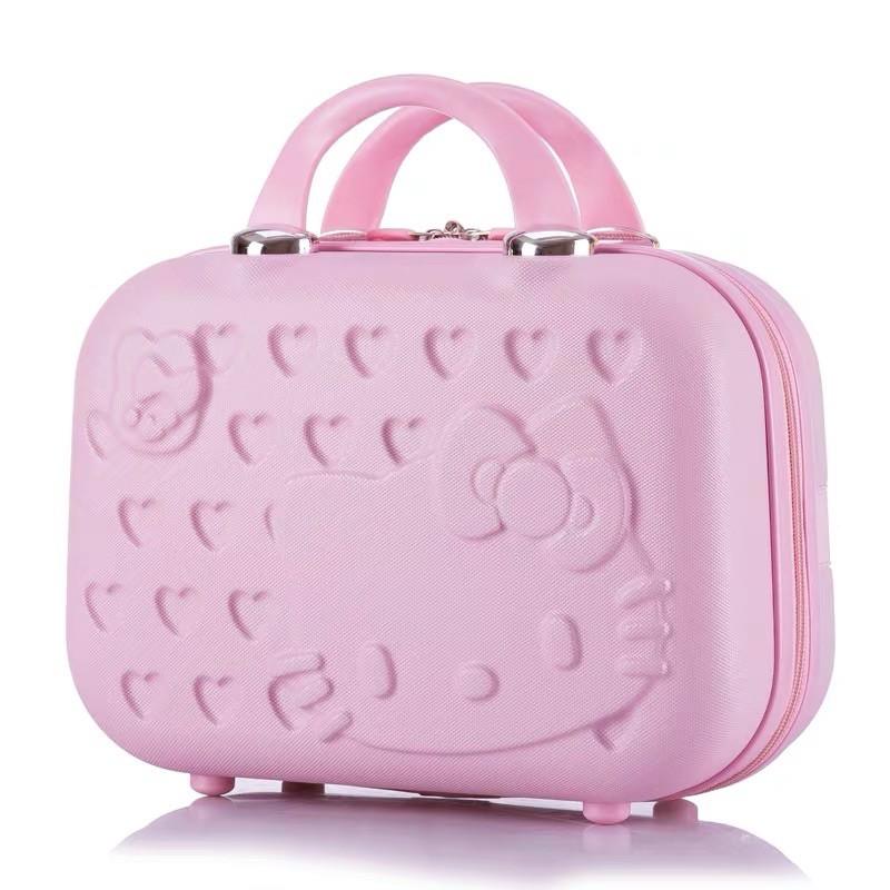 Kitty 貓粉紅小型子母箱14吋行李箱化妝箱包手提箱收納包結婚箱