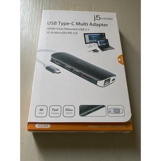 全新免運~j5create USB3.1 Type-C 10合1 HDMI/ VGA螢幕4K顯示多功能集線器-JCD384 新竹縣