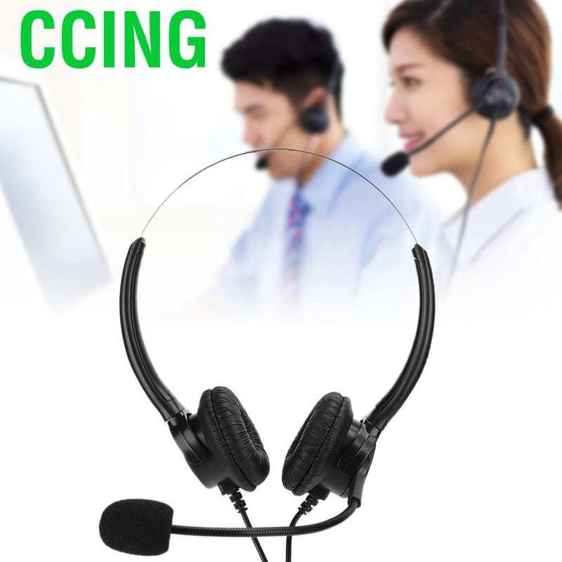 CCING家用辦公室耳機雙耳耳機帶電話座機電話麥克風